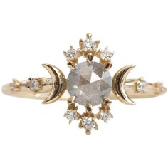 Salt and Pepper Diamond Wandering Star Ring ($2,495) ❤ liked on Polyvore featuring jewelry, rings, diamond jewellery, diamond rings, star jewelry, diamond jewelry and star diamond ring
