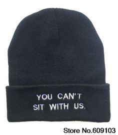 you can't sit with us Beanies Hats Hip-Hop wool winter Cotton knitted warm caps Snapback hat for man and women 1pcs $9.99