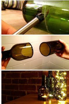 How to cut wine bottles to make your own DIY lanterns #howtomakeyourownwine #makewinediy