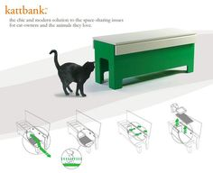 Litter box in a bench from kattbank for those that have an indoor cat instead of indoor outdoor cat.