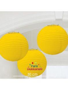 Sarı Yuvarlak Fener Süs 1 Adet (30 cm)