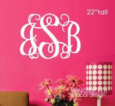 22 tall Monogram wall decal art vinyl wall by yitingsticker, $18.99