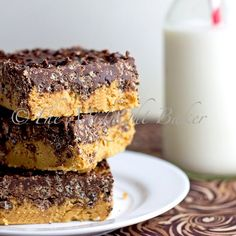 No-Bake Peanut Butter Crack Bars...I am going to make these with gluten free graham crumbs :)