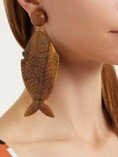 Caspia clip-on earrings Wood Earrings, Clip On Earrings, Wooden Jewelry, Jewerly, Tassels, Jewelry Accessories, Brooch, Accessories, Jewlery