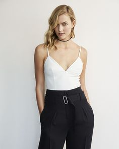 karlie kloss (minus the) leather cropped bralette tank