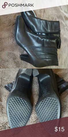 58b14283f79 Dress Shoe Black zip up on the inside short boot style dress Shoe with a  small heel AEROSOLES Shoes Ankle Boots   Booties
