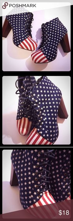 AMERICAN THICK HEEL AMERICAN fashionista heels with stars & stripes...these are for the Stylish & Brave. Flaws aren't noticelabe but are pictured in the last pics. Shoes Heels