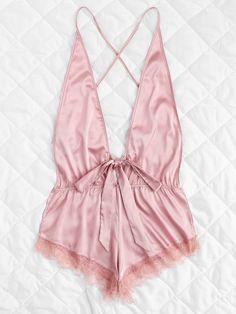 Open Back Lace Hem TeddyFor Women-romwe