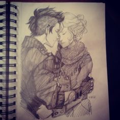 Some lovely punk! Percy and girly! Annabeth :3 art by Viria :)