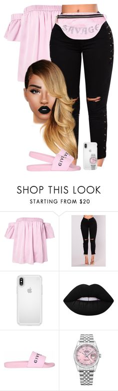 """Pop Ish"" by chiamaka-ikaraoha ❤ liked on Polyvore featuring Milly, Speck, Lime Crime, Givenchy, Rolex and Skinnydip"