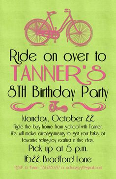 Bicycle Party Invitation