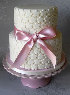 cake covered with fondant flowers
