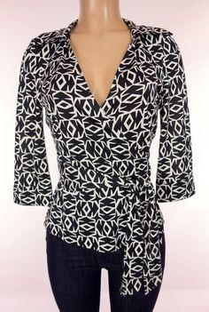 DIANE VON FURSTENBERG Vintage Jill Wrap Top Size 10 M Medium Jersey Silk DVF #DVF #Wrap #Career
