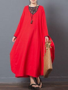 Retro Women Floral Printed Patchwork Long Sleeve Baggy Maxi Dress at Banggood