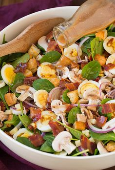 Spinach Salad with Warm Bacon Dressing!!
