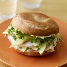 Turkey Bagel Sandwich with Avocado and Green Apple