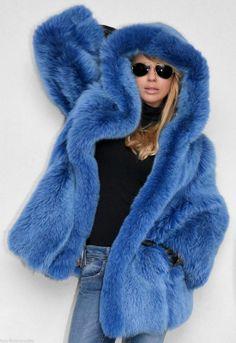 dyed blue fox fur parka   eBay