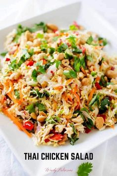 You are going to fall in love with this deliciously healthy Thai Chicken Salad! This crunchy chopped salad is perfect for meal prep and leftovers are great in wraps or on a sandwich. salads Thai Chicken Salad with Ginger Lime Dressing Thai Chicken Salad, Chicken Salad Recipes, Healthy Salad With Chicken, Thai Chicken Wraps, Napa Cabbage Recipes, Asian Cabbage Salad, Asian Quinoa Salad, Chicken To Go, Asian Chopped Salad