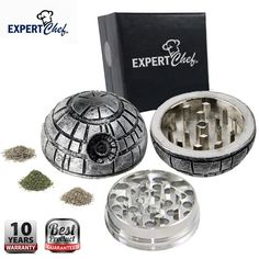 Expert Chef Top Rated Spice & Herb Grinder (Death Star, Silver)