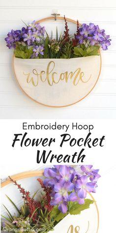 DIY Embroidery Hoop Pocket Wreath - No-Sew Tutorial