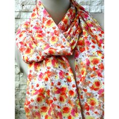 Floral Scarf,Women Scarf, Bright Multicolored Scarf, Chiffon Scarf,... ($16) ❤ liked on Polyvore featuring accessories, scarves, lightweight summer scarves, colorful infinity scarves, chiffon shawl, summer infinity scarves and floral infinity scarves