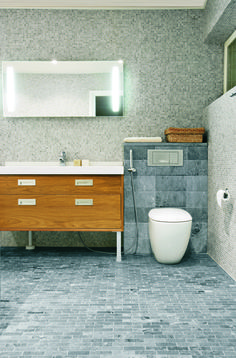 soapstone floor  unsealed   good on bathroom floor or as countertop     Soapstone tiles in bathroom