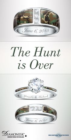 Set your sights on true romance with this unique wedding ring set. Ideal for hunters and lovers of all things camouflage, it's a constant reminder that you can't hide from the passion of love.