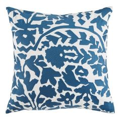 Dwellstudio Oaxaca Floral Accent Pillow (5.900 RUB) ❤ liked on Polyvore featuring home, home decor, throw pillows, dark blue, flowered throw pillows, dwellstudio, cotton throw pillows, floral toss pillows and navy home decor