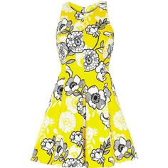 River Island Yellow floral print skater dress (€88) ❤ liked on Polyvore featuring dresses, vestidos, robes, short dresses, yellow, skater dress, women, yellow skater dress, white skater skirt and white fitted dress