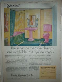 1930 Vintage Standard Sanitary Plumbing Fixtures Art Deco Pink Colors Ad  Exquisite Colors for the Art Deco crowd, maybe?