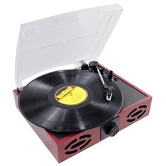 3 Speed USB Turntable Vintage Record Music Player Retro Wooden Vinyl MP3 RCA NEW #3Speed #USB #turntable #musicians #mp3 #player