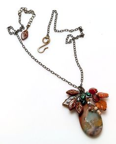Teal and Brown Gemstone Necklace Nature by CherylParrottJewelry
