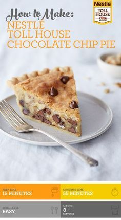 Nestle Toll House Chocolate Chip Pie combines the rich taste of chocolate with the smooth texture of brown sugar to make a delicious dessert! Add in some chopped nuts for an extra crunch, tastes great with whipped cream or ice cream!