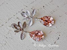 Wedding Earrings - Bridesmaid Jewelry - Bridal Earrings -  Vintage Pink  Swarovski Crystal Earrings - Darling Pink.