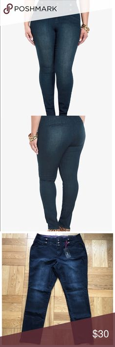 "Torrid Boom Boom High-Waisted Skinny Denim NWT Torrid Boom Boom High-Waisted Skinny Denim.  Brand new dark wash Jeans.  3 button high-waist featuring wider, button-tabbed waistband,  waist measures 19"" across laying flat, inseam: 31"". torrid Jeans Skinny"