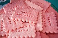 Stamped pink birthday cookies