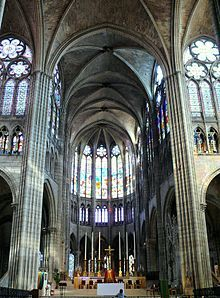 Basilica of St Denis, the royal necropolis of France, was rebuilt by Abbot Suger with a gothic aesthetic.