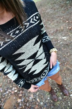 Sequin Aztec Sweater/ The Rage Cute Fashion, Fashion Outfits, Womens Fashion, Fasion, Fall Winter Outfits, Autumn Winter Fashion, Fashion Fall, Pretty Outfits, Cute Outfits