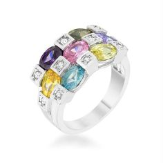 7a716ee33 Multicolor CZ Rhodium Plated Contemporary Band Ring With Round And Oval Cut  CZ In A Stacked Design In A Bezel Setting In Silvertone.