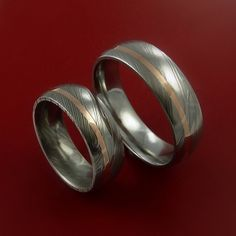 Matching Set 14k Rose Gold Damascus Steel by StonebrookJewelry, $846.92