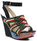 Fourever Funky Women's Tribal Colorblock Woven Platform Vegan Wedge Sandals
