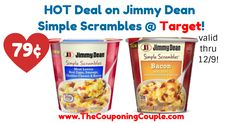 WOW! Awesome savings available, great time to stock up! HOT Deal on Jimmy Dean Simple Scrambles @ Target!  Click the link below to get all of the details ► http://www.thecouponingcouple.com/hot-deal-on-jimmy-dean-simple-scrambles-target/ #Coupons #Couponing #CouponCommunity  Visit us at http://www.thecouponingcouple.com for more great posts!