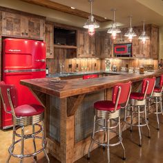 Fantastic rustic bar design ideasFantastic rustic bar design ideasDIY Home Bar Decor Ideas - Personalized Home Bar Signs and Decor Home barsHandlebar frame added in front of the front cabinet Basement Bar Designs, Rustic Kitchen, Kitchen Remodel, Kitchen Design, Rustic House, Kitchen Decor, Rustic Basement, Bars For Home, House Interior