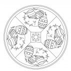 Easter Basket Mandala for kids to color in preschool and kindergarten. Full-size available for free from www.kigaportal.com