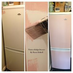 Painted Refrigerator using chalk paint