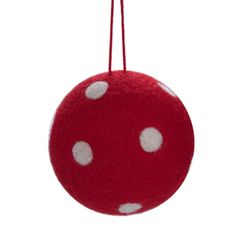 HANG ON Red felt/white spotty bauble D 9 cm - Butlers England