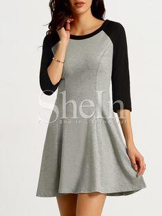 Vestido manga larga color combinado -gris blanco-Spanish SheIn(Sheinside)