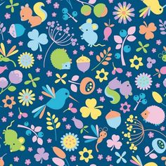 Melly & Me Wildflower Fabric - Main Blue - 100% cotton fabric - Fabric by Type - Fabric