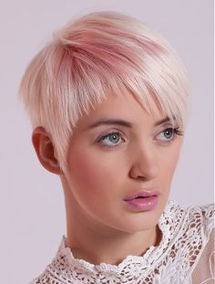 A short blonde straight coloured pink womens modern hairstyle by Jimmy Campbell