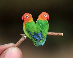 Love birds - Papercut bird - Love bird art - Original Papercut art - Miniature art - Bird art - Paper bird - Watercolor - NVillustration